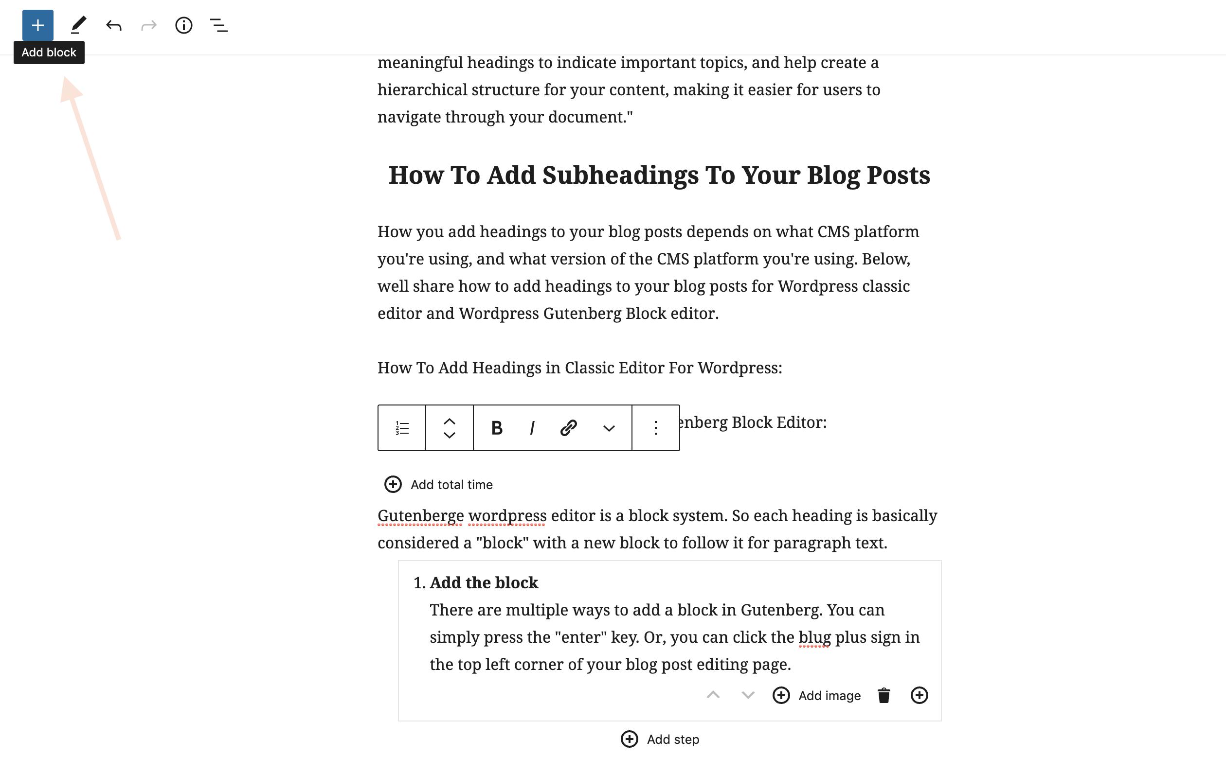 Adding a block to wordpress blog post in Gutenberg editor