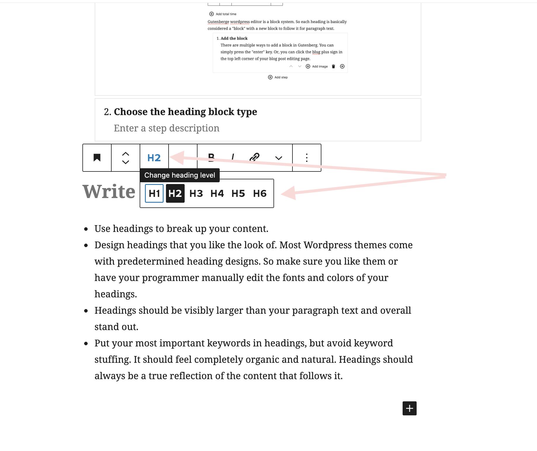 Where to click to change subheading level in WordPress Gutenberg block editor