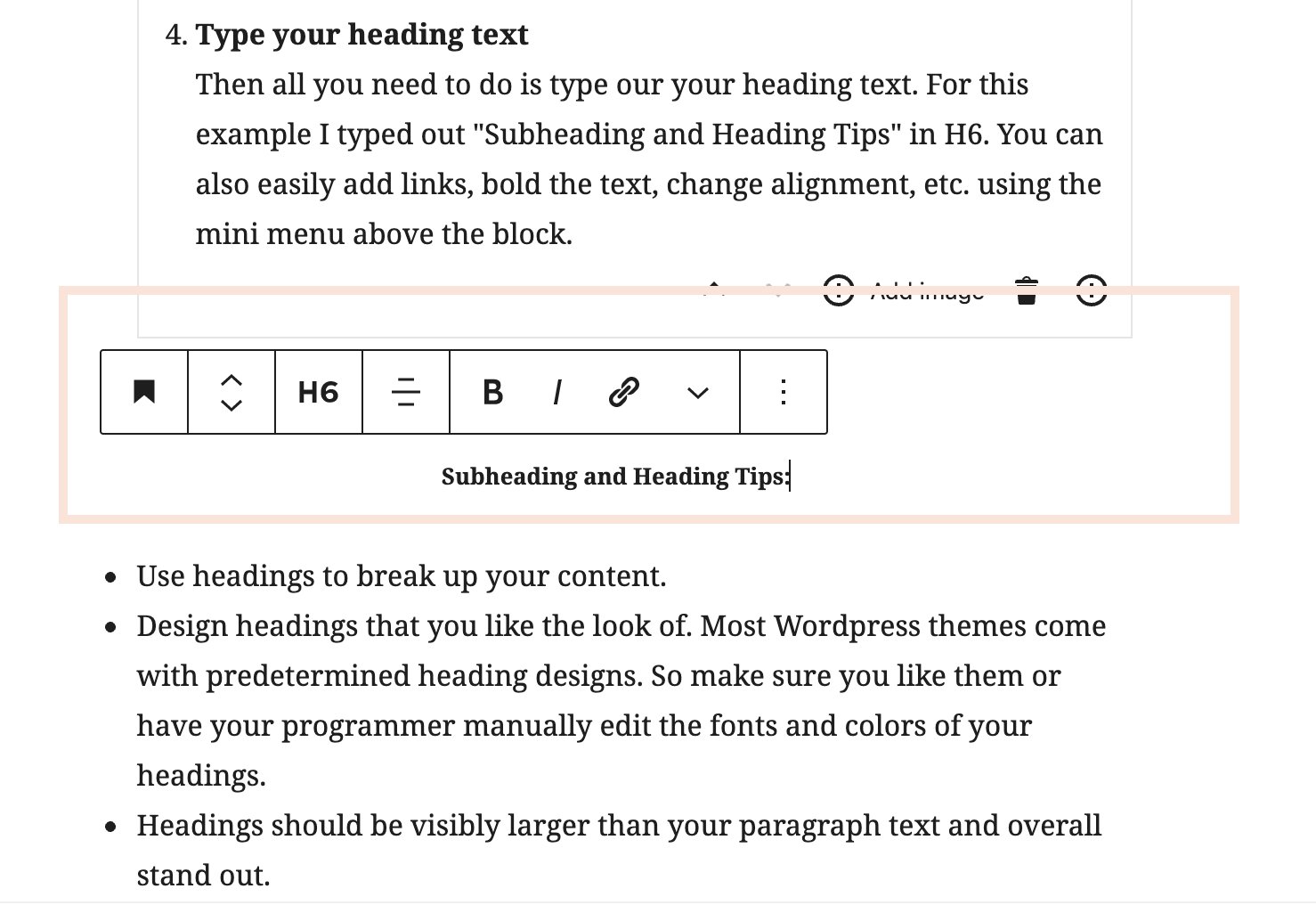 typing and text options in Gutenberg heading block