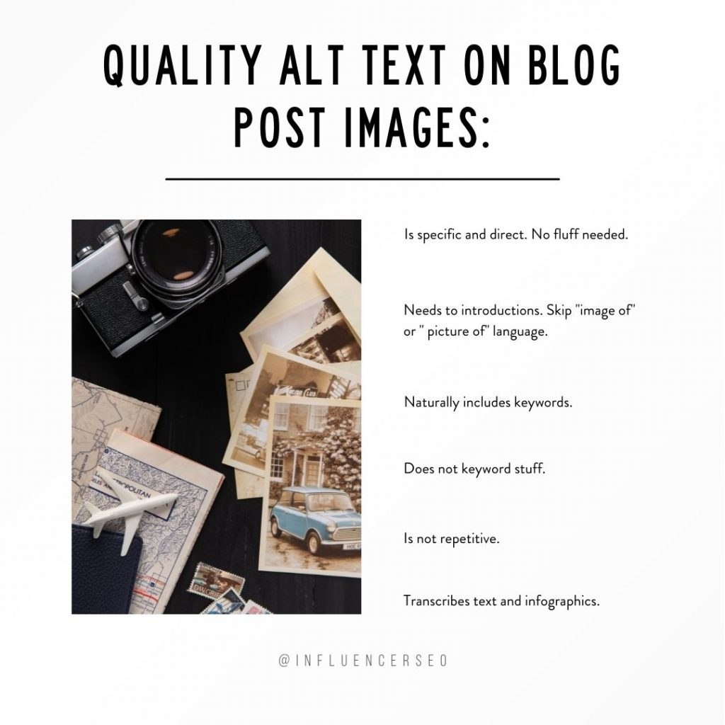 list of important things to consider when adding alt text on blog post images