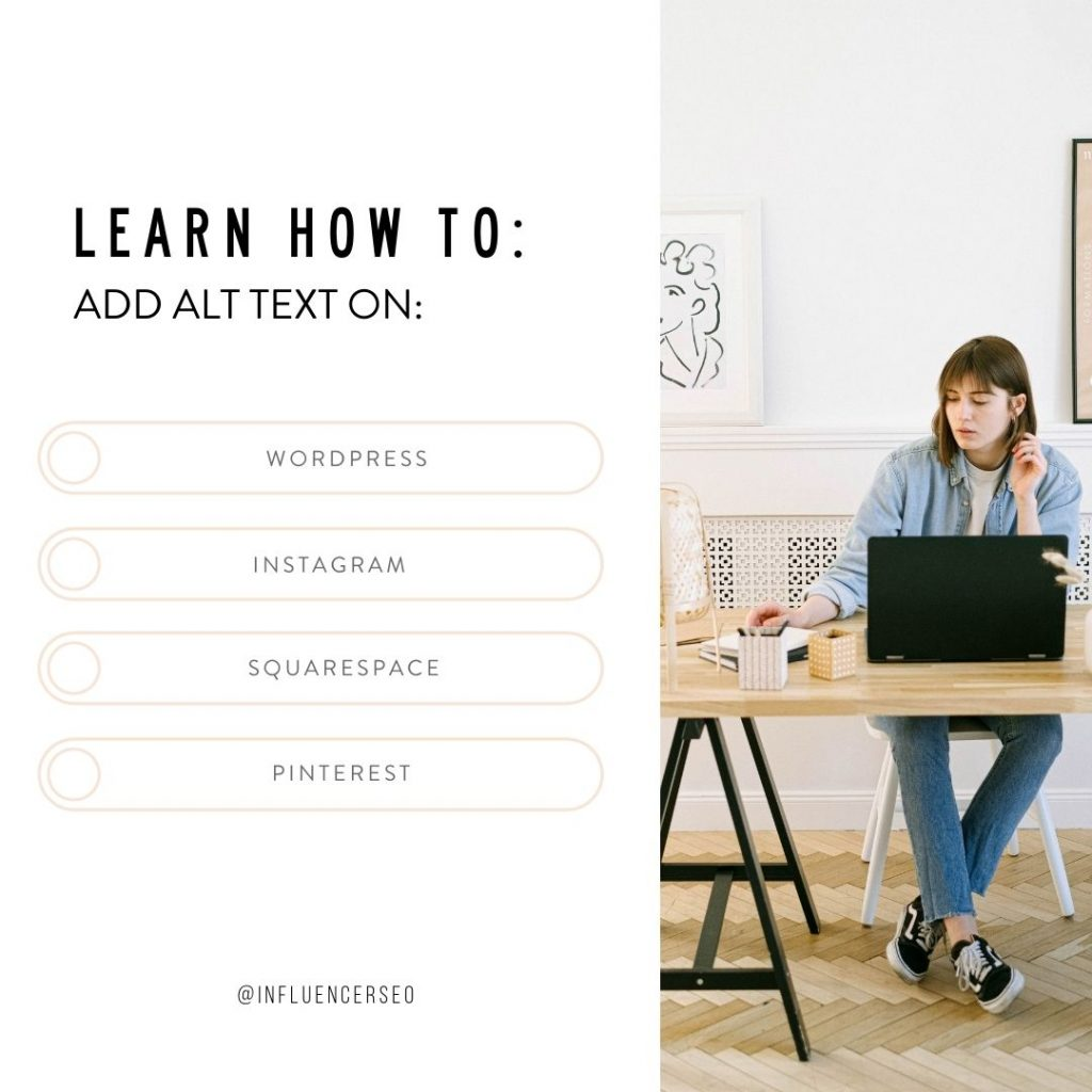 Learn how to add alt text on WordPress, Instagram, Squarespace, Pinterest
