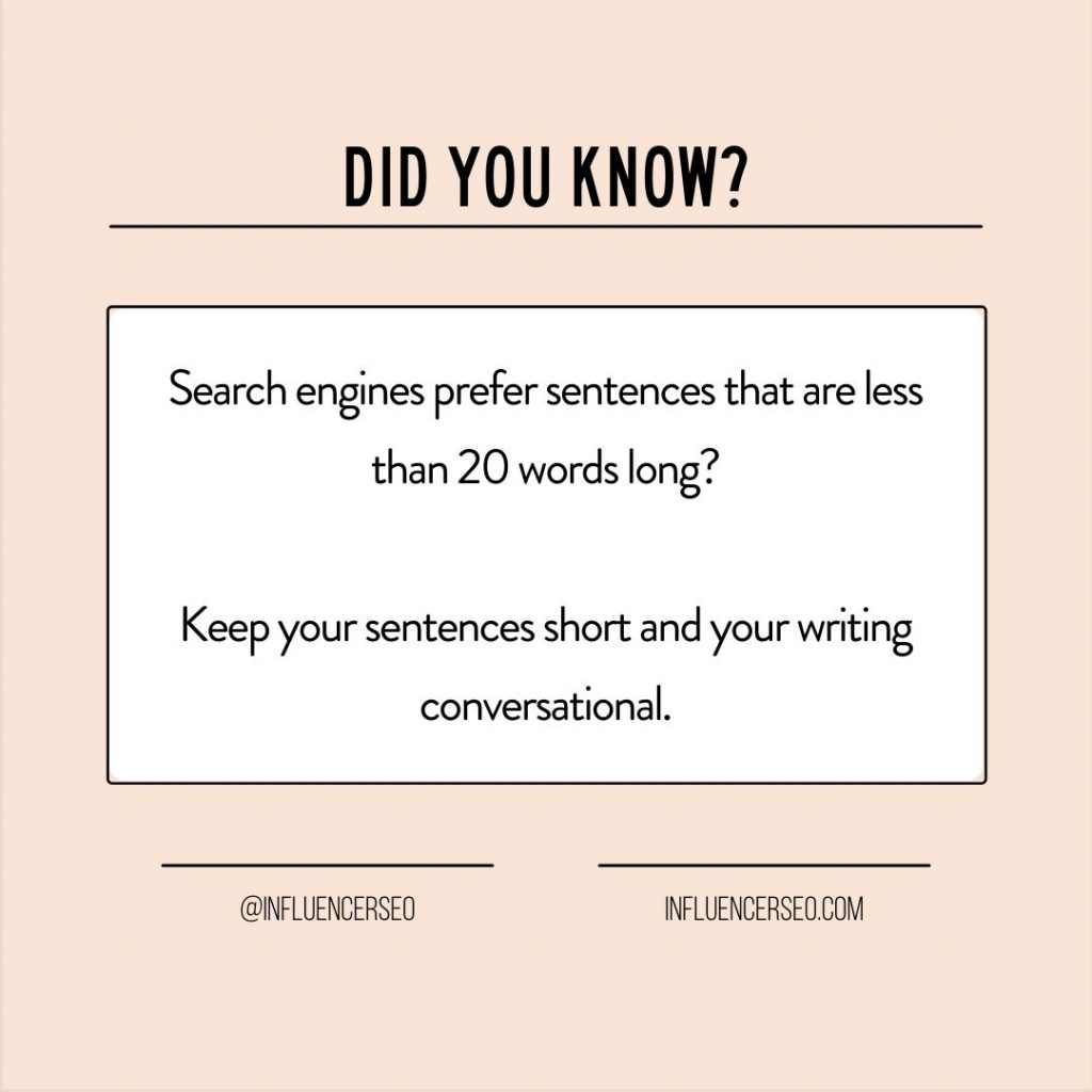 search engines prefer sentences less than 20 words long